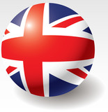 United Kingdom flag texture on ball. Design element. poster