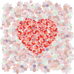 Red heart on a background of colors