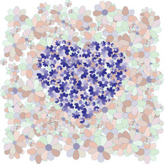 Blue heart on a background of colors
