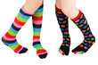 Legs with colorful stockings