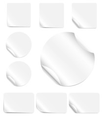 Set of blank, realistic vector stickers with peeling corners
