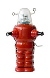 Old red metal robot poster