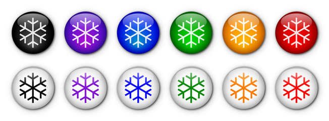 """Boutons """"Neige"""" (x12 - multicolores)"""