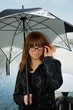 Beautiful woman under umbrella