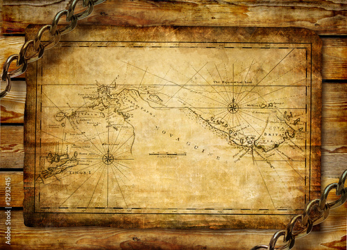 Fototapeta ancient map over wooden background