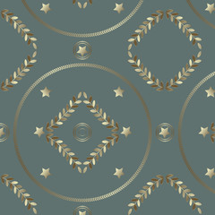 Seamless geometrical pattern with silvery rings, stars