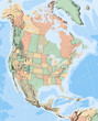 North America Map showing US States and Canadian Provinces