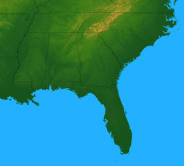 Map of Southeastern USA plus the surrounding area