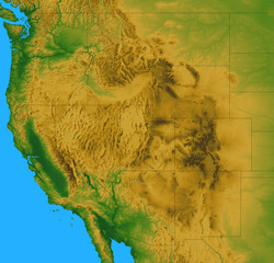 Terrain map of the Western United States