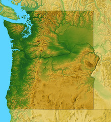 Map of Washington and Oregon plus the surrounding area