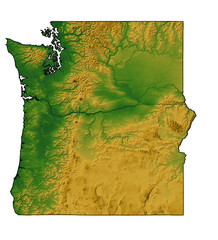 Terrain map of Washington and Oregon