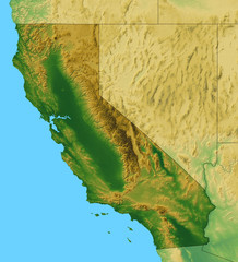 California map along with adjacent area