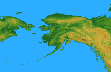 Alaska Map with Sibera and Bering Sea