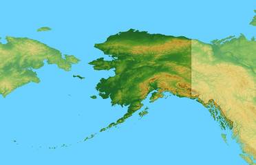 Map of Alaska with Terrain