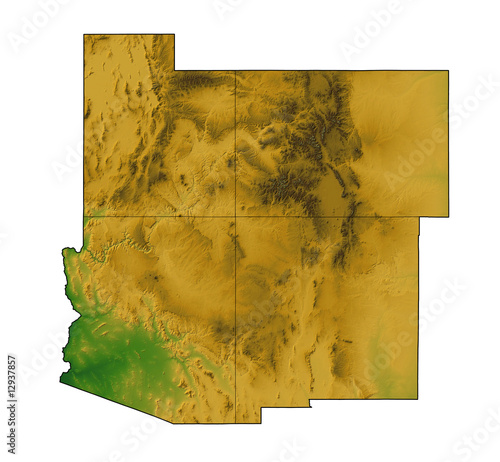 Four Corners Map:  Arizona, New Mexico, Utah and Colorado