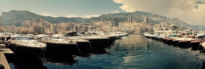 Row of luxury motor yachts in Port de Fontveille Monaco