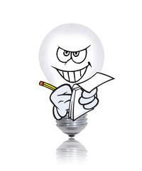 ampoule méchante écrit une facture
