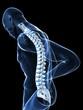 transparenter körper mit schmerzender wirbelsäule