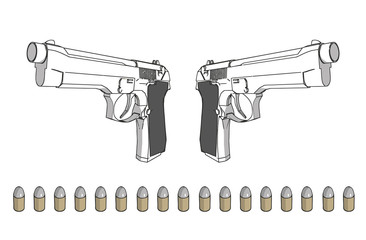 vector guns with ammunition - 3d isolated illustration