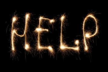 Word help written sparkler.