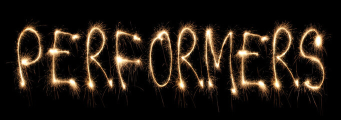 Word performers written sparkler.