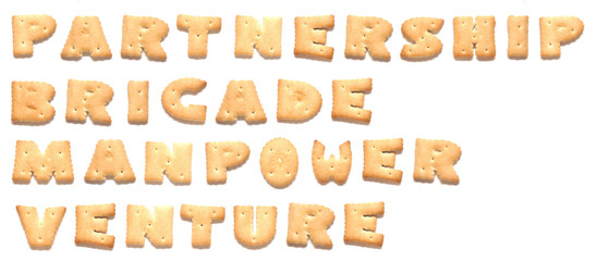 The words: partnership, brigade, manpower, venture