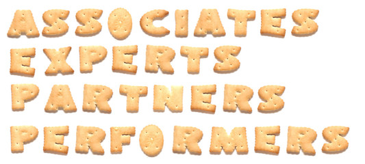 The words: associates, experts, partners, performers