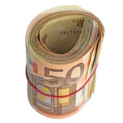 un rouleau de billets de 50 euros