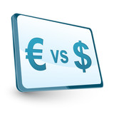 euro versus dollar, icon on screen