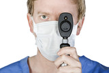 Young Surgeon with Mask Holding Periscope upto his Eye