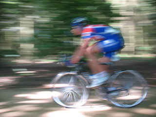 Man in sportswear cycling in woods