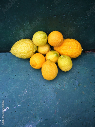lemons on a blue background