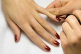 The girl varnishs nails poster