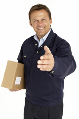 Courier Extending His Hand For A Handshake  Holding A Parcel