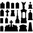 Grave and tombstones with statues - vector silhouette set - 12964096
