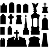 Grave and tombstones with statues - vector silhouette set