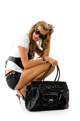 Girl with big fashion bag