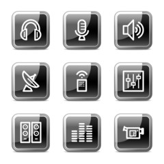 Media web icons, black square glossy buttons series