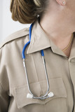 Emergency Medical Service officer wearing a stethoscope.