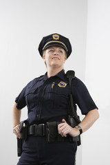 Low angle view of a woman police officer.