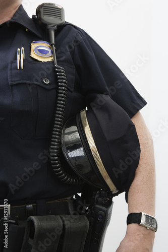 Close up of a police sergeant's cap.