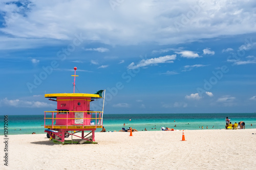Lifeguard stand, South Beach, Miami, Florida - 12972006