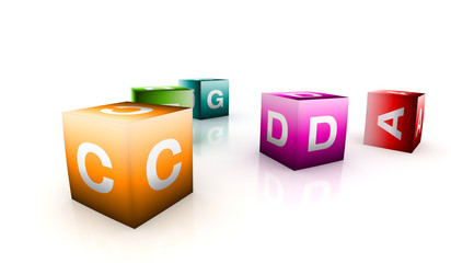 alphabetical toys in cube shape