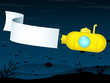 Yellow submarine with banner