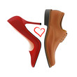 Photo-real vector pump and oxford shoes with the heart