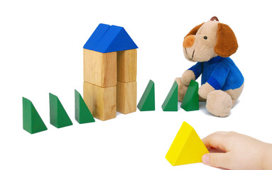 Small child play with blocks