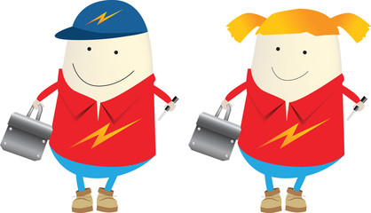 male and female electrician