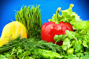 vegetables on blue background