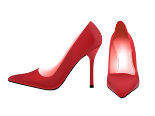 Pair of photo-real red woman pump shoes in editable vector