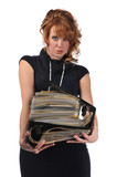 Office woman with a pile of files